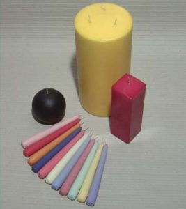 Colour dipped candles