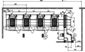 Layout mit 4 Gießmaschinen